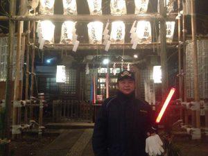 池袋消防団第二分団の一員として、地元の氏神様でもある、池袋御嶽神社の警備をします。