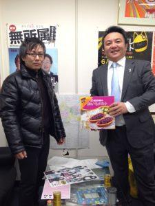本日は、作曲家の上江冽亮司さんに事務所にお越し頂きました。