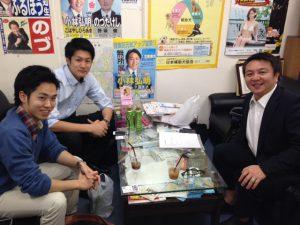 俳優の大堀峻くんと、現役慶応大生の長身インテリモデルの工藤康平くんに事務所にお越し頂きました。
