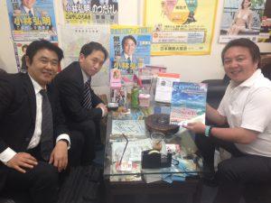 立教野球部の同級生の岩川くん、水村くんに事務所にお越し頂きました。